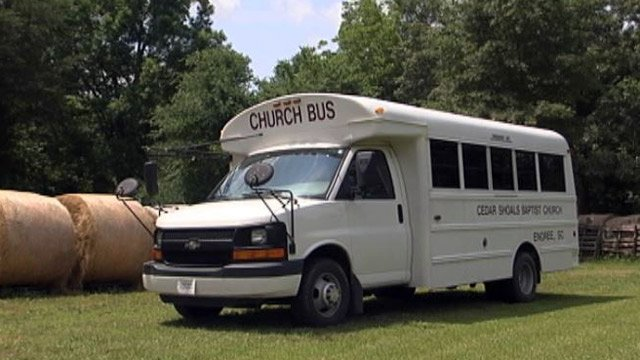 The church van that was damaged. (May 30, 2014/FOX Carolina)