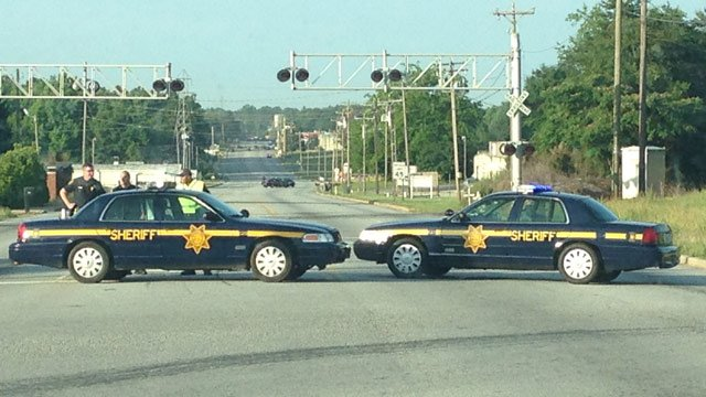 Deputies have Highway 20 blocked to all traffic. (June 2, 2014/FOX Carolina)
