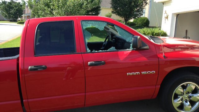 The windows of a Mauldin man's truck were busted out. (June 2, 2014/FOX Carolina)