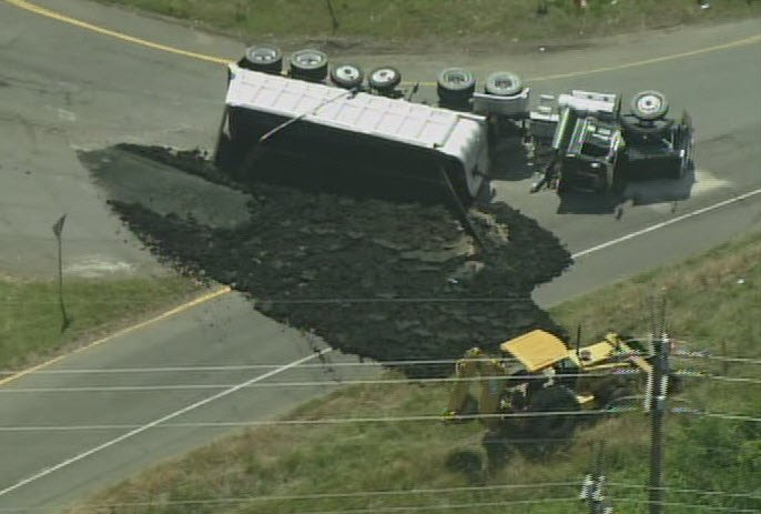 Officials have called in heavy equipment to scoop the waste into another truck. (Source: WBTV)