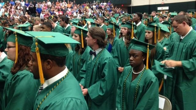 Laurens County District 55 High School grads at their commencement ceremony. (June 3, 2014/FOX Carolina)