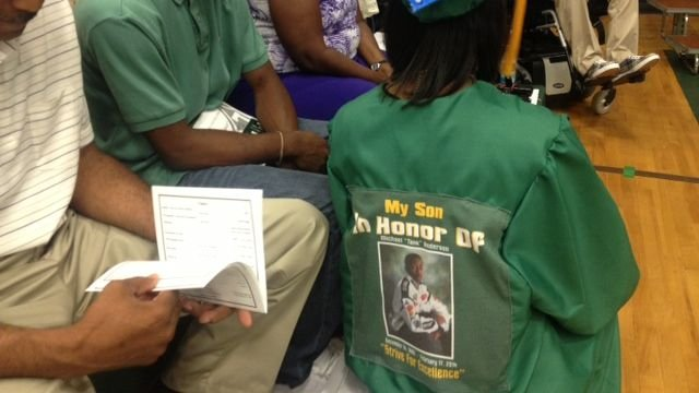 A graduation gown honoring Michael Anderson. (June 3, 2014/FOX Carolina)