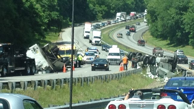 One lane of eastbound traffic is closed because of the crash. (June 4, 2014/FOX Carolina)
