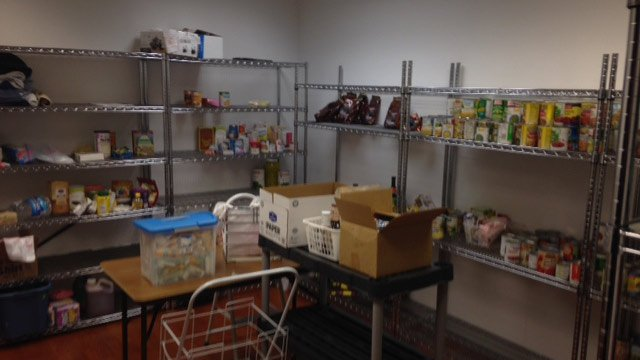 Some of the Salvation Army's empty shelves. (June 4, 2014/FOX Carolina)