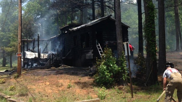 One of the cabins that caught fire. (June 5, 2014/FOX Carolina)
