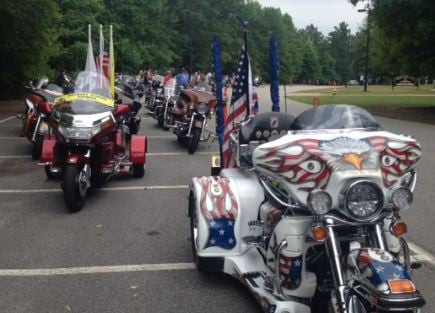Motorcycles lined up ahead of the annual The Honor Flight Memorial Ride (FOX Carolina)