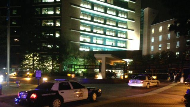 Police respond to Spartanburg Regional where a truck crashed into the lobby. (June 9, 2014/FOX Carolina)