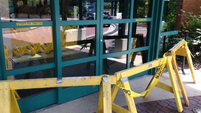 SRMC's main lobby is closed for repairs following the crash. (June 9, 2014/FOX Carolina)