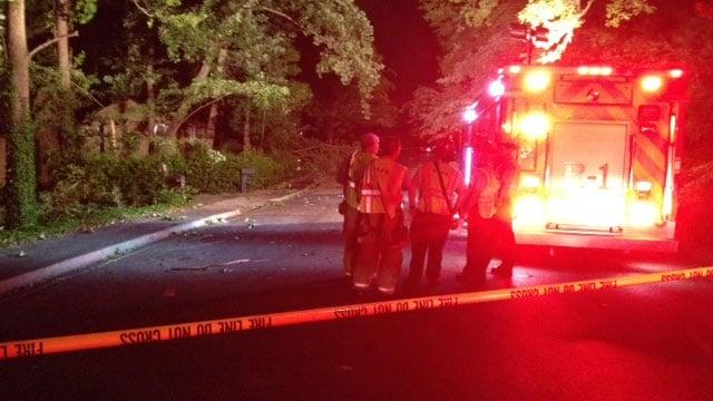 A tree was blocking Westview Avenue on Tuesday night. (June 10, 2014/FOX Carolina)