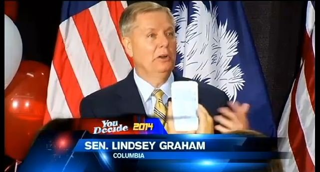 Sen. Lindsey Graham accepting the nomination on Tuesday. (June 10, 2014/FOX Carolina)