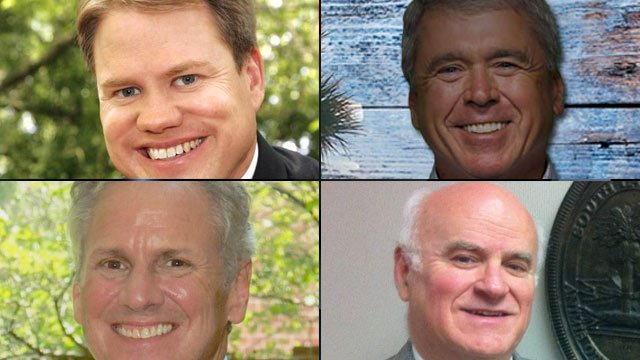Top-left to bottom-right: Mike Campbell, Pat McKinney, Henry McMaster and Ray Moore. (Source: Candidates' Facebook pages)