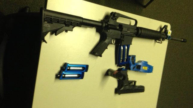 Some of the weapons used in the simulator. (June 11, 2014/FOX Carolina)