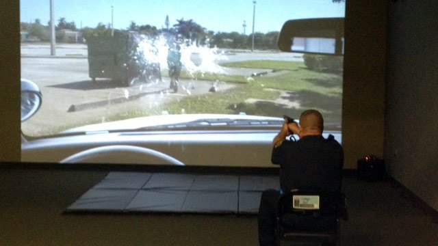 An officer trains in the interactive lab. (June 11, 2014/FOX Carolina)