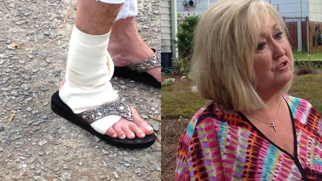 Connie Pride spoke with FOX Carolina about the attack that left her injured. (June 12, 2014/FOX Carolina)