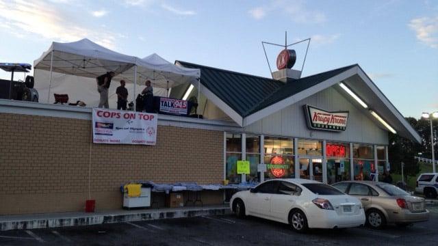 Cops will be atop the donut shop until Saturday at 9 p.m. (June 13, 2014/FOX Carolina)