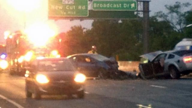 Emergency crews respond to the I-85B crash. (June 13, 2014/FOX Carolina)