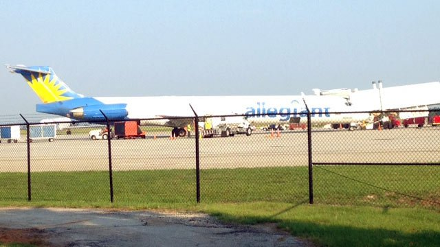 An Allegiant Airlines flight arrives at GSP.