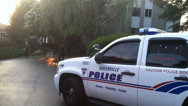 Police said the call came in as shots fired at Stonesthrow Apartments on Century Circle near N. Pleasantburg Drive just before 8 p.m. (June 17, 2014/FOX Carolina)