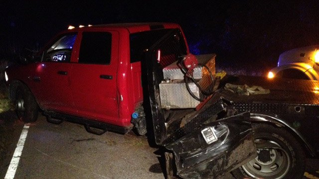 The pickup truck involved in the crash. (June 17, 2014/FOX Carolina)
