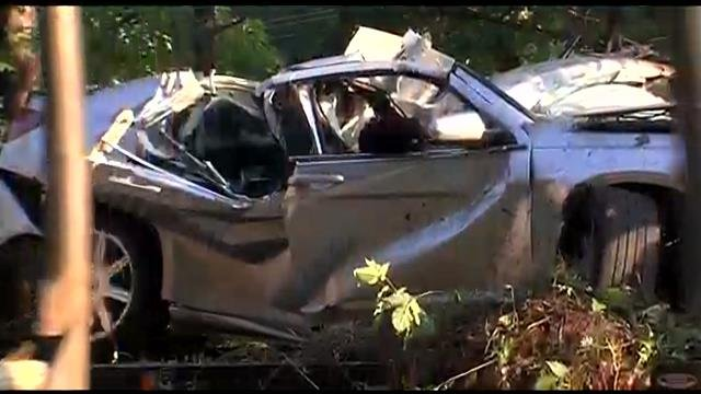 The crashed car whose driver was airlifted to the hospital. (June 18, 2014/FOX Carolina)