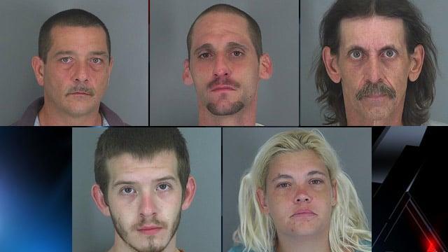 Top-left to bottom-right: William Brown, Joshua Davis, Willis Harris, Edward Hipp and Jessica Smith. (Source: Spartanburg Co. Detention Center)