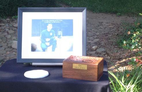 Gio's ashes at memorial service (FOX Carolina)