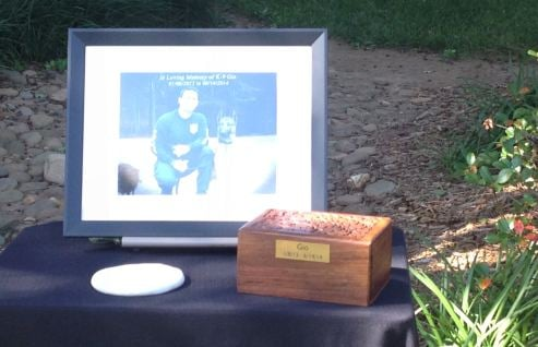 Gio's ashes at memorial service (FOX Carolina)