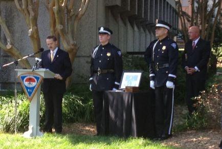 Chief Mike Gambrell speaks at memorial service (FOX Carolina)
