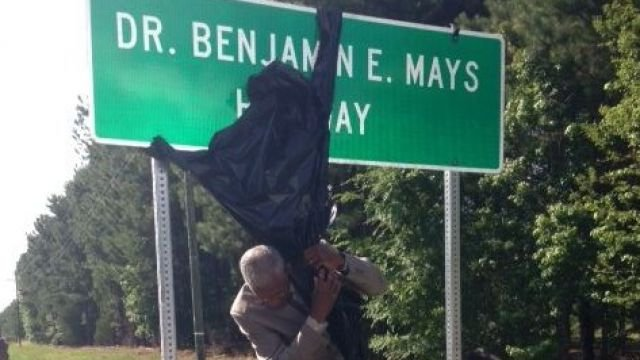 Benjamin Mays highway sign unveiling (Courtesy: Mays family)