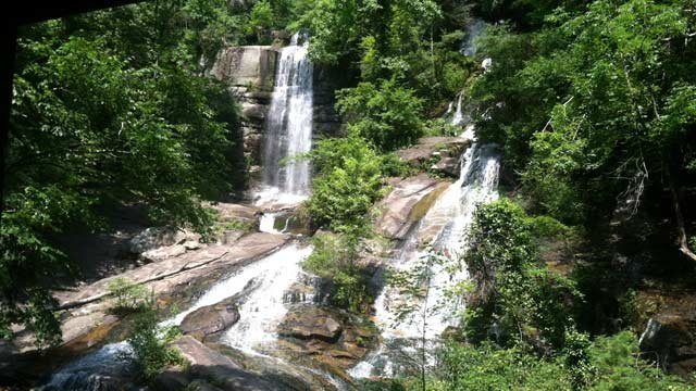 Assistant Fire Chief Kevin McClain said the woman and her boyfriend were climbing on the falls when the woman fell. (June 23, 2014/FOX Carolina)