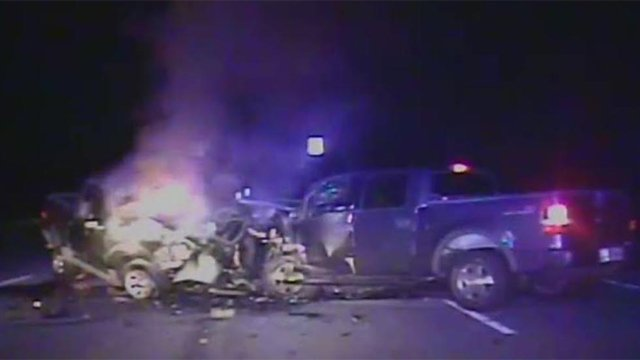 A still of from dash cam video at the crash scene. (Source: Travelers Rest Police Dept.)
