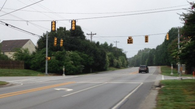 The traffic lights at Pollard and Highway 14 were out. (June 25, 2014/FOX Carolina)