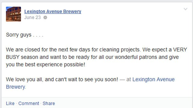 A Facebook post about the clean-up at the brewery. (Source: Facebook)