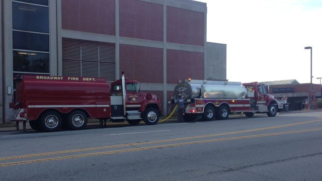 Firefighters supply AnMed with water during advisory. (June 26, 2014/FOX Carolina)