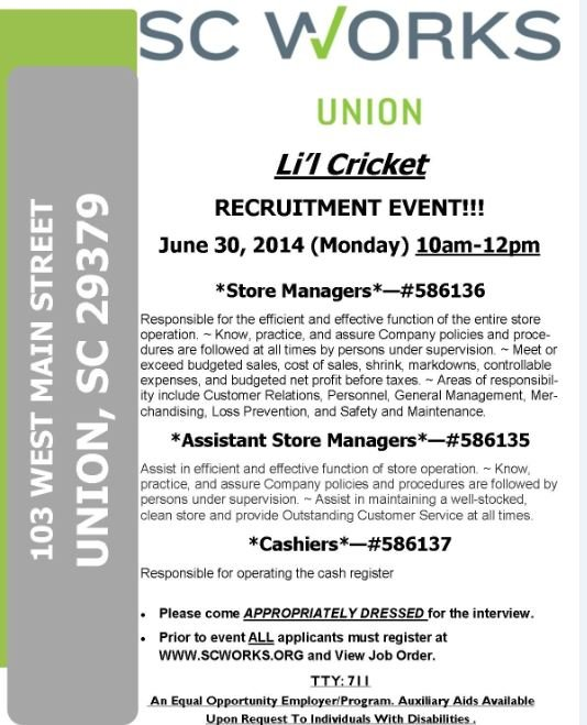 Li'l Cricket recruitment event flyer (provided)