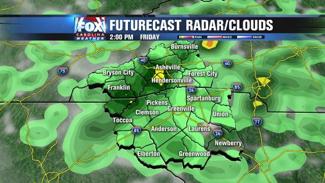 Futurecast rain for 2pm Friday