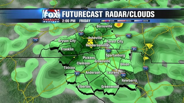 Futurecast rain for 2pm Friday