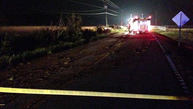 Firefighters on the scene of the fiery crash. (June 27, 2014/FOX Carolina)