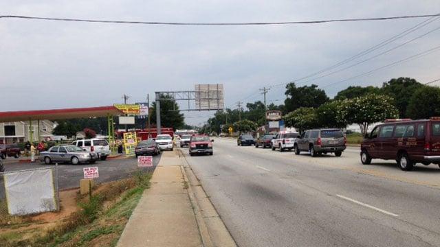 First responders along Mauldin Rd. at North Kings Rd. (June 27, 2014/FOX Carolina)
