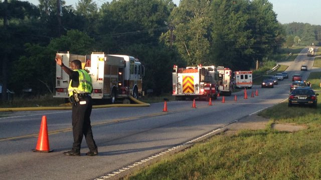 Traffic is blocked along Anderson Road due to fire. (July 3, 2014/FOX Carolina)