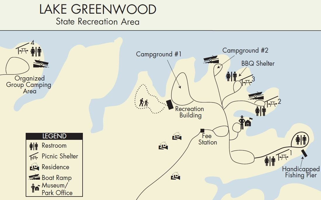 Map of Lake Greenwood State Recreation Area (Courtesy: www.southcarolinaparks.com)