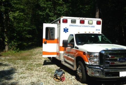 Ambulance near search area (FOX Carolina)