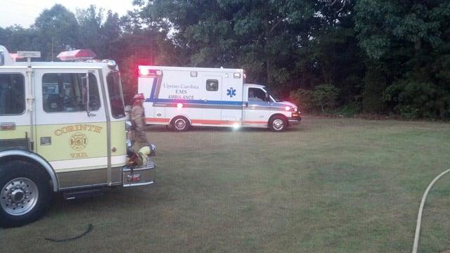 Firefighters and paramedics on scene of the Gaffney fire. (July 8, 2014/FOX Carolina iWitness)