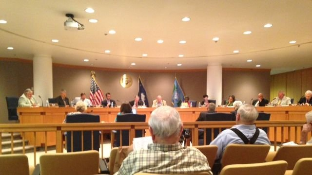 A regular meeting is held at the Greenville County Council. (July 8, 2014/FOX Carolina)