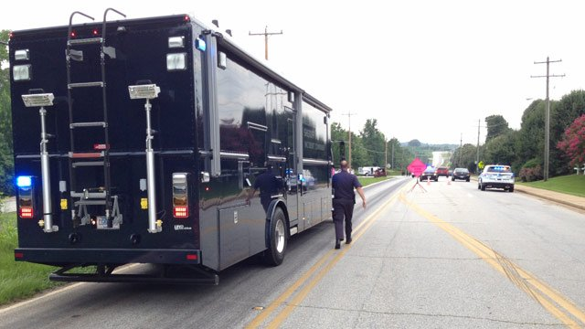 The Greenville County Sheriff's Office incident command unit is on scene.  (July 9, 2014/FOX Carolina)