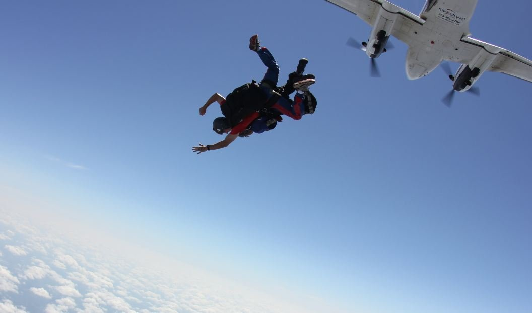 Leaping into the blue at 12,000 feet (Courtesy: Skydive Carolina)
