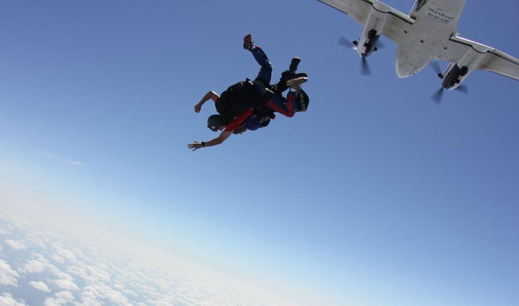 Leaping into the blue at 12,000 feet (Courtesy: Skydive Carolina)