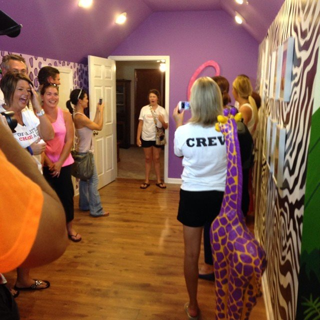 Truelove sees the remodeled room for the first time (Courtesy: Ride to Give/ Facebook)