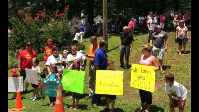 Supporters wait to greet Truelove (Courtesy: Ride to Give/ Facebook)