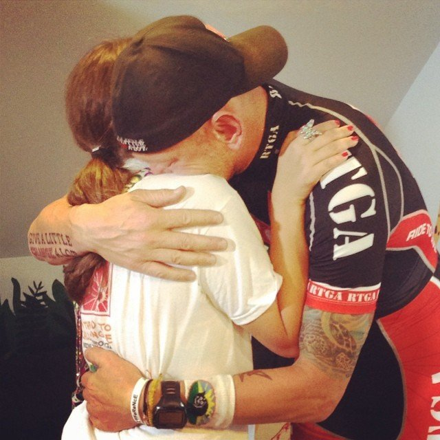 Nazaroff and Truelove embrace (Courtesy: Ride to Give/ Facebook)